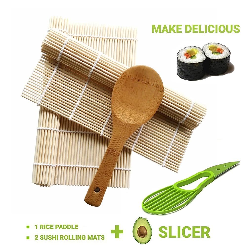2Pcs Bamboo Sushi Mat Sushi Roller Mat With 1Pcs Rice Paddle 1Pcs Avocado Slicer Cutter DIY Sushi Maker Set Sushi Accessories