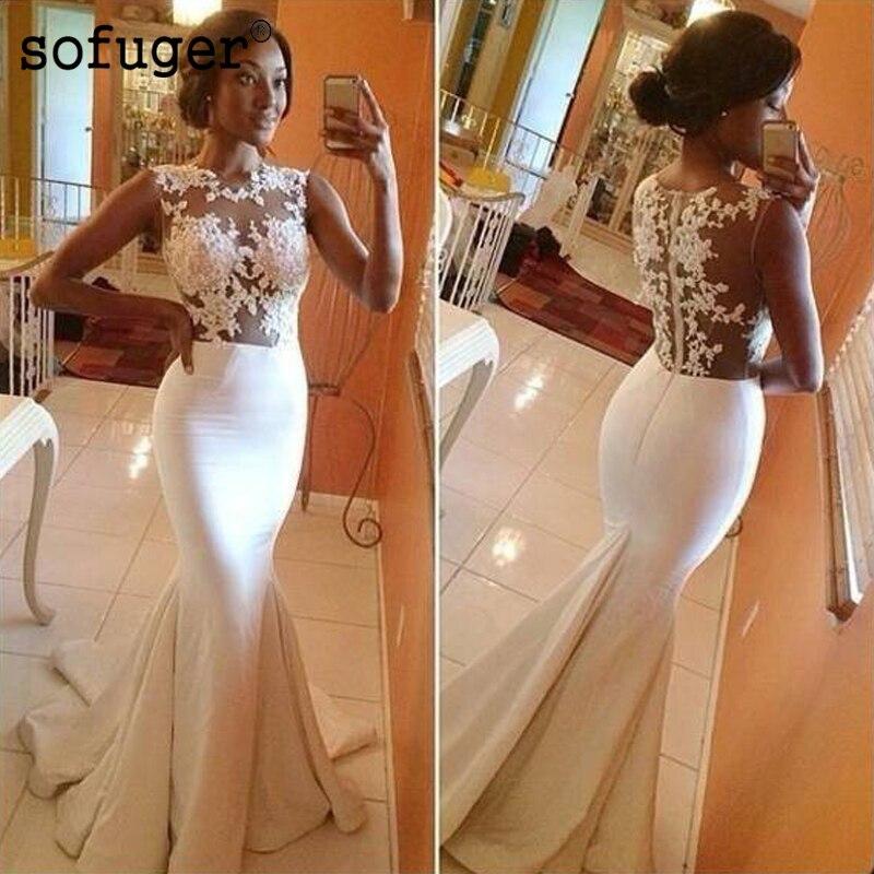 See Through Vestido De Noiva 2019 Wedding Dresses Mermaid Cap Sleeves Applique Lace Beach Boho Dubai
