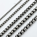 2/3/4/5/6mm Mens Boys Round Box Silver Tone Stainless Steel Chain Necklace Wholesale Customized Jewelry Gift LKNM06