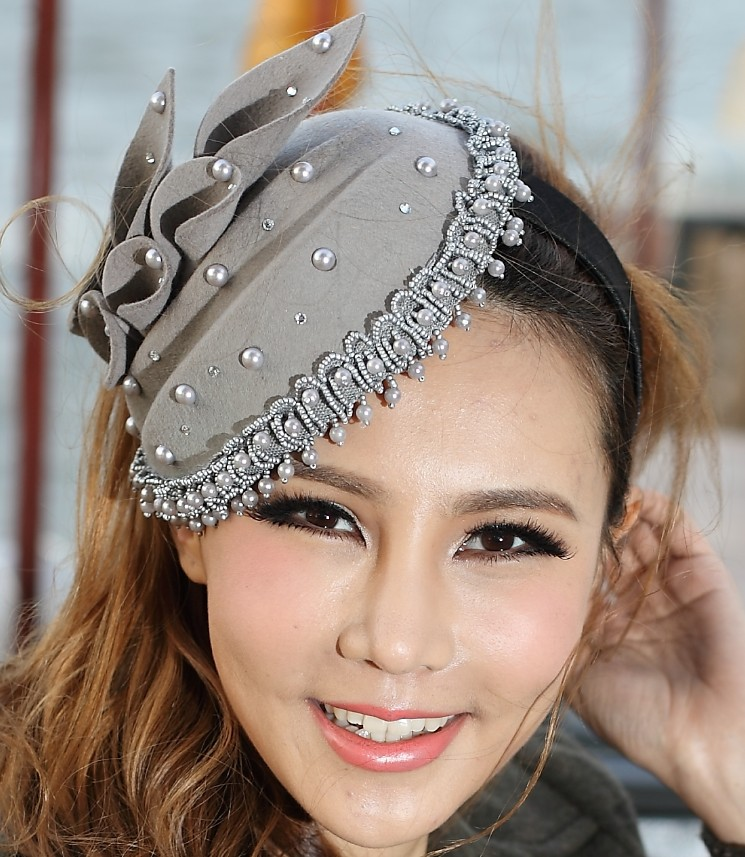 Women Fashion Fascinator Hat Hair Accessories Hairband Hair Clips Wool Felt  Fascinator Hat Bridal Clip Wedding Derby Church Cap women girl bohemia bridal camellias hairband combs barrette wedding decoration hair accessories beach headwear
