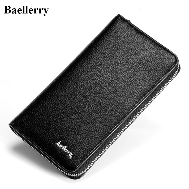 Baellerry Brand PU Leather Wallets Men Casual Long Black Zipper Purses Clutch Phone Wallets Male Money Bags with Card Holders 2016 famous brand new men business brown black clutch wallets bags male real leather high capacity long wallet purses handy bags