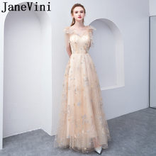 JaneVini Champagne Lace Prom Dresses Long Elegant Women Tulle V Neck Gala Party Gowns Sleeveless Evening Special Occasion Dress(China)
