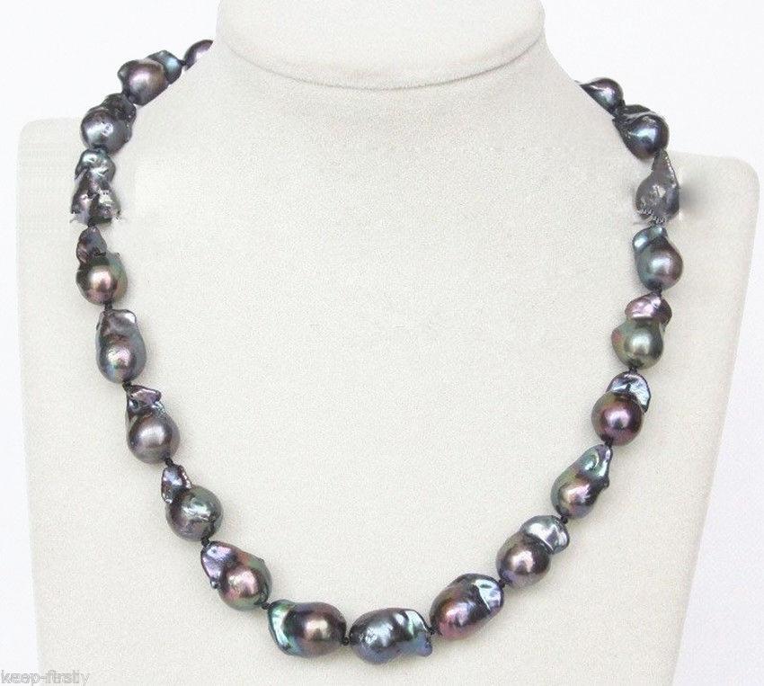 Vente chaude nouveau Style > > > > > mode bijoux New 17 mm Baroque noir collier de perles 18