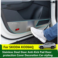 For SKODA KODIAQ 2017 Car Stainless Steel Door Anti Kick Pad Door protection Cover Decoration Car styling 4PCS|Chromium Styling|   -