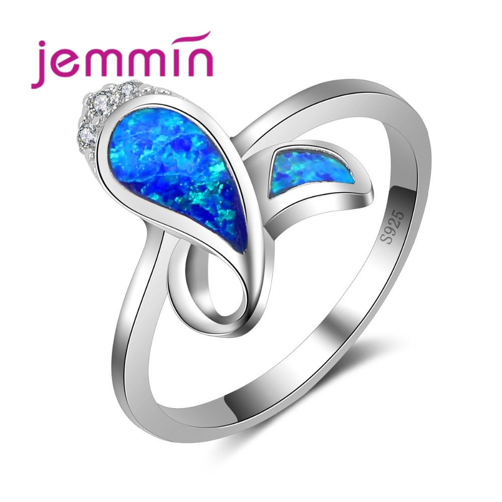 High Quality Romantic Fish Sterling Silver Rings For Party Jewelry Accessory Blue Opal Finger Ring Women Bridal Wedding
