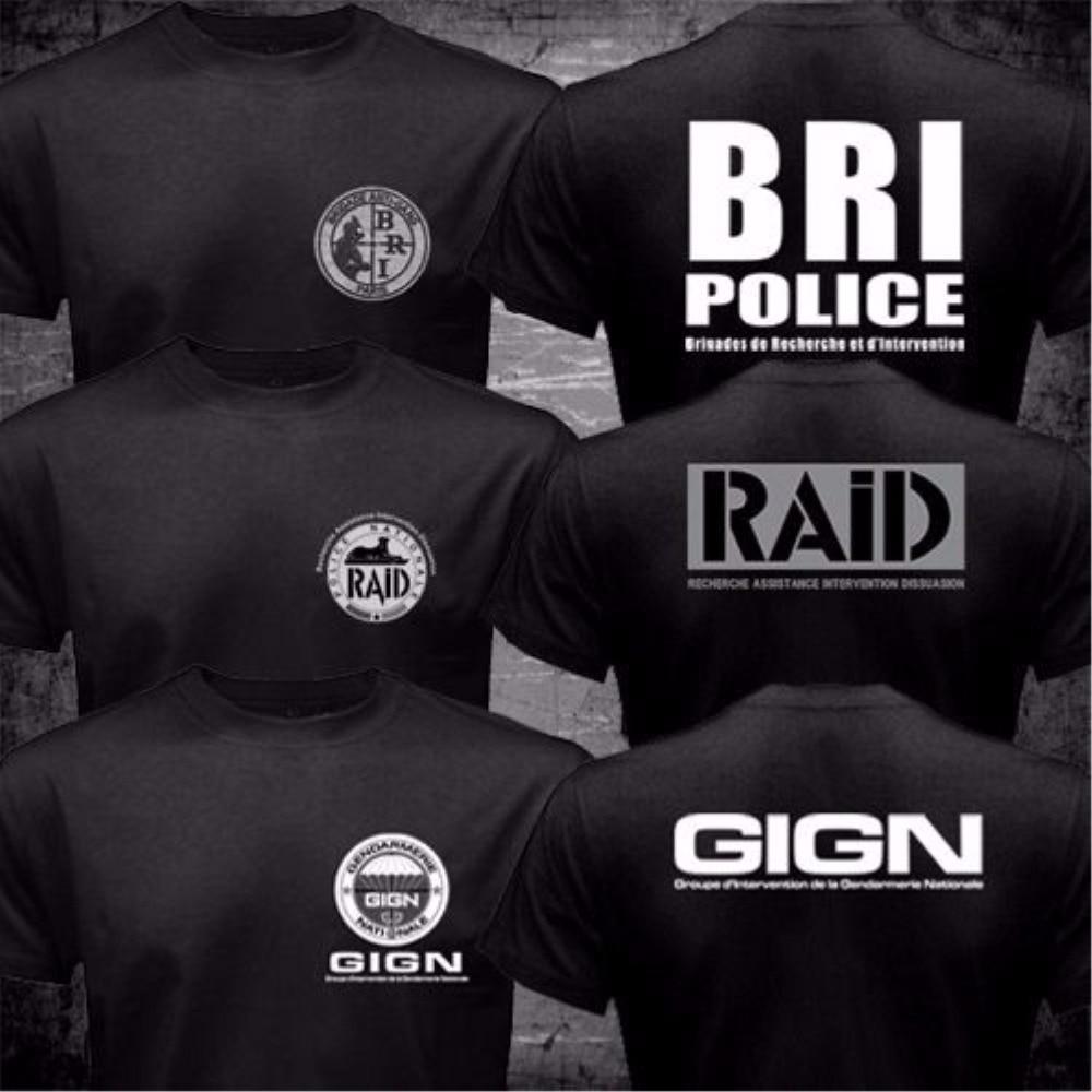 France French Special Elite Police Forces Unit GIGN Raid BRI Black T shirt Short Sleeve Mens Tshirt Funny 2 Side O Neck Shirts ...