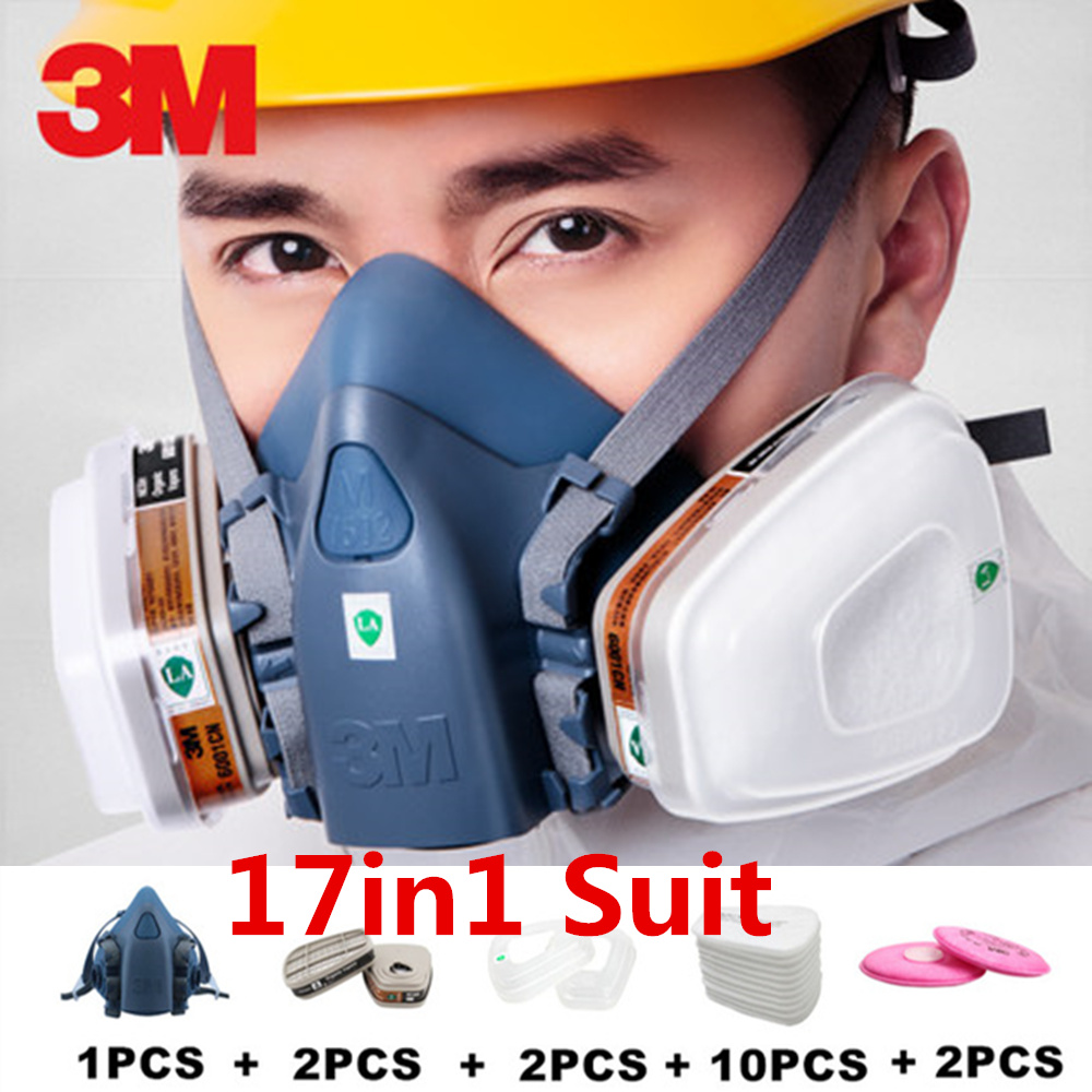 17 In 1 3M 7502 Anti Dust Gas Mask Respirator Silicone Anti-dust Organic Vapor Benzene PM2.5 Multi-purpose Protection Tool Set