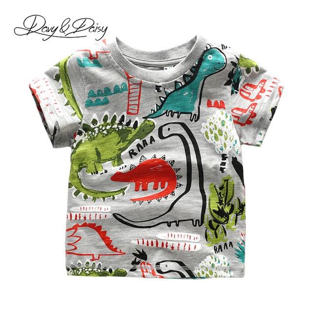 0d2be419d8 DAVYDAISY 2017 Verão Camisa de Manga Curta T Para Meninos Dinossauro Dos  Desenhos Animados Graffiti Impressão Meninos Moda Camiseta Roupa Dos Miúdos  WTS-023