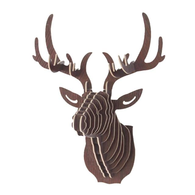 Urijk 3D di Legno Animale Testa di Cervo di Arte Modello di Home Office Decorazi