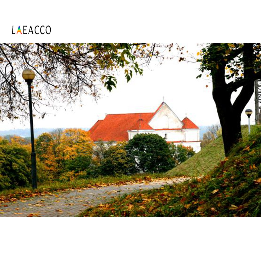 Laeacco Autumn Fallen Leaves Countryside Rural House Passage Tree Scene Photographic Background Backdrops Photocall Photo Studio