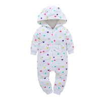 Newborn Baby Clothes Warm Autumn And Winter Printing Jeans Baby Climbing Fashion Sports Hooded Work Clothes