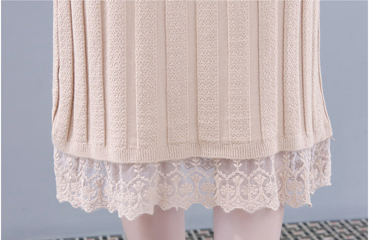 2019 Autumn Winter Knitted Two Piece Sets Women Plus Size Sweater And Lace Splicing Skirt Suits Casual Elegant Loose 2 Piece Set 44