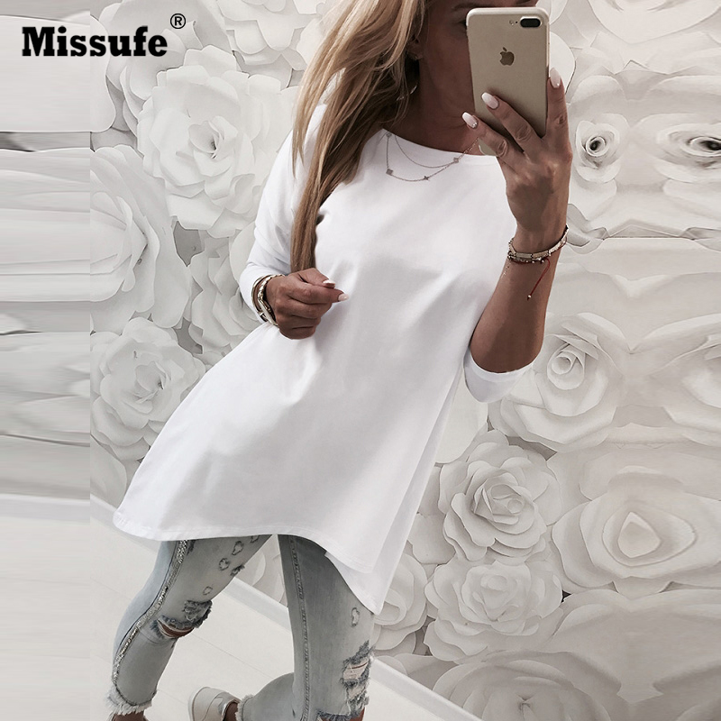Missufe Seyx O Neck Solid Women   Blouse   Tops Irregular Hem Causal Loose Long Sleeve Autumn   Blouse     Shirts   2018 Blusa