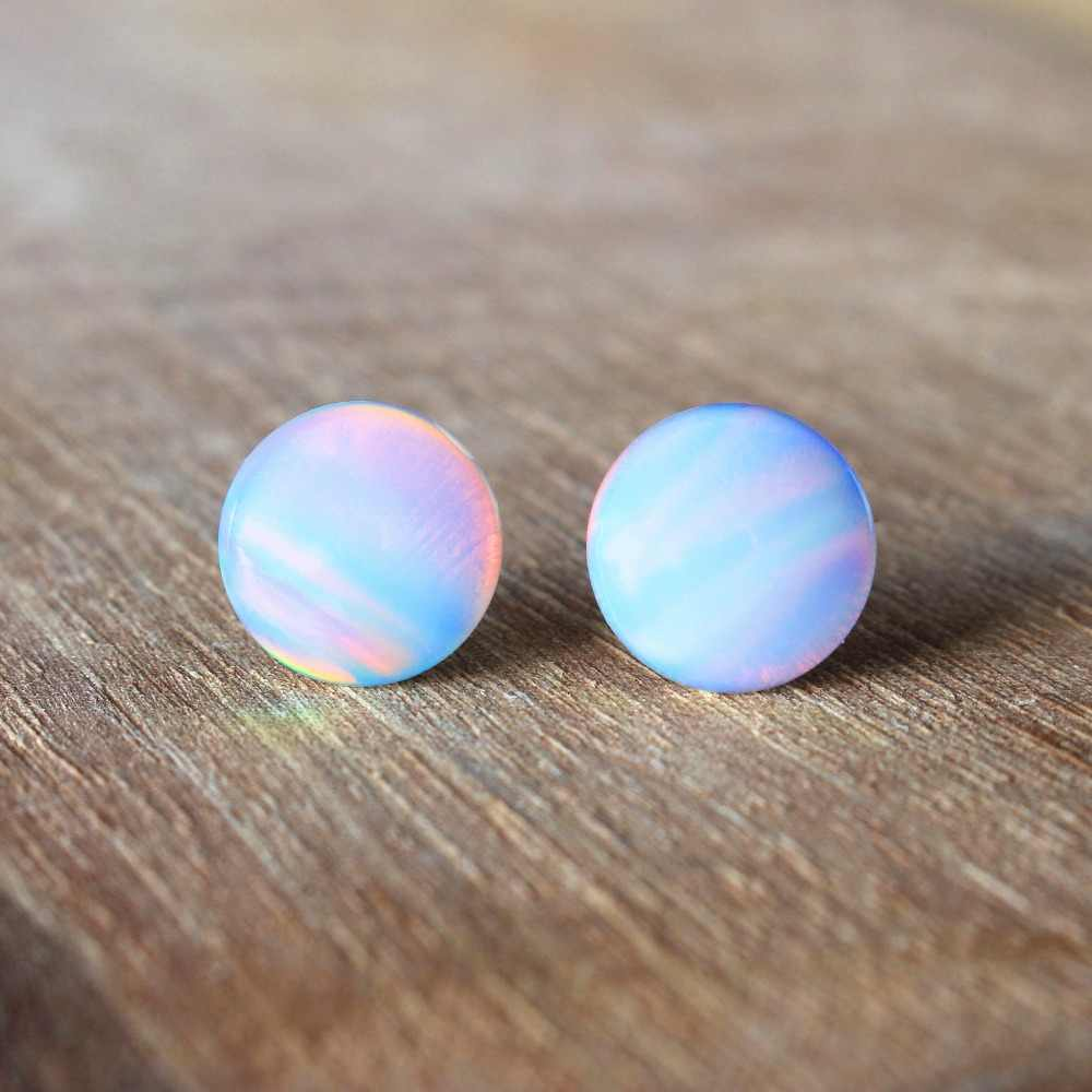 Boho Female Small Ball Round Stud Earrings Fashion 925 Silver White Fire Opal Earrings Vintage Wedding Double Earrings For Women