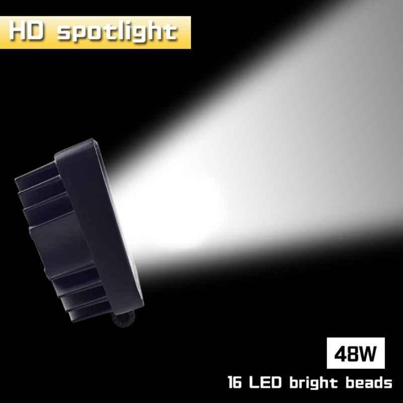48W Vehicel المصابيح الأمامية 16 المصابيح أبيض بارد ضوء بار 4 بوصة سيارة العمل ضوء LED شاحنة ل SUV #306