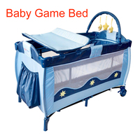 European Portable Baby Cot Crib Multifunctional Foldable Game Bed Baby Boys Girls Folding Bed Travel Portable Trolley Game Bed