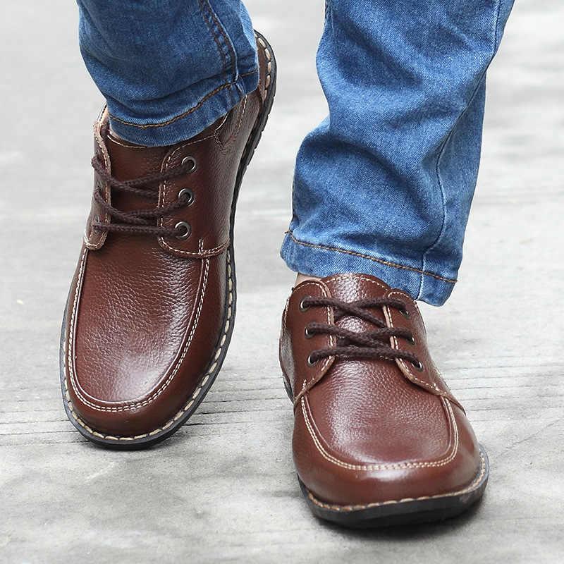 LAISUMK nowa moda męskie skórzane buty na co dzień prawdziwej skóry męskie skórzane płaskie buty czarny brązowy miękkie komfort biznes sukienka męskie buty