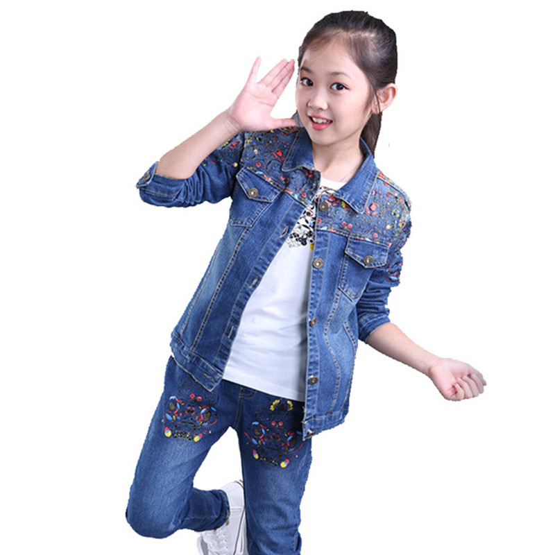Children clothing sets fashion kids sports suit Autumn girls clothing set denim long sleeve jackets+jeans 2 pcs girls clothes girls suit 2017 autumn children s clothing smile pattern sports set big kids girl bat long sleeve 2 pcs sets black pink clothes