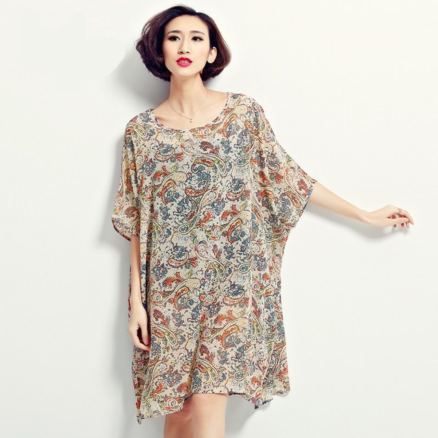 US $18.99 |2016 Summer Plus Size Dresses American Country Style Printed  Chiffon Loose Long Shirt Dress for 5XL 6XL Ladies (R.Melody TYW007)-in  Dresses ...