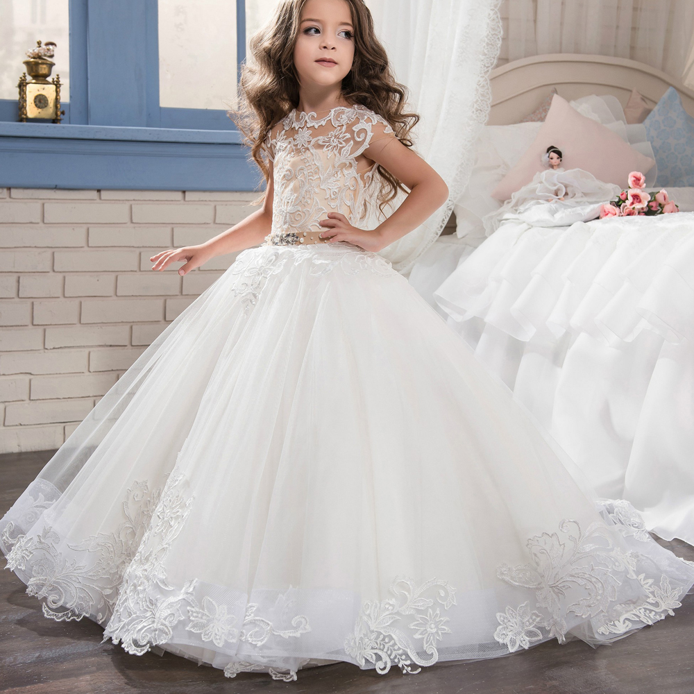 New Beautiful Flower Girl Dresses Lace Applique Short Sleeve Tulle Ball Gown with Beaded Sash First Communion Dress Size 2-14Y sweet beaded halter short sleeve dress for women