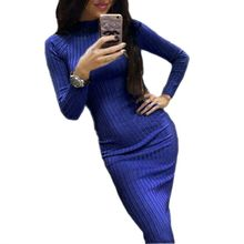 Elegant Women Midi Dress Autumn Long Sleeve Slim Dresses Winter Bodycon Knitted Robe Office Ladies Knitting