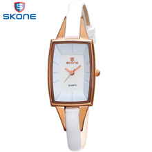 SKONE Rectangle Watch Women Narrow Leather Strap Ladies Wrist Watches New with Tags Elegant Women's Waterproof Wristwatch