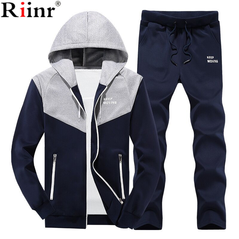 Riinr 2018 New Gyms Tracksuit Men Pants Sets Fashion Sweatshirt Sweat Suits Brand Patchwork Casual Fitness Outwear Jogger Set
