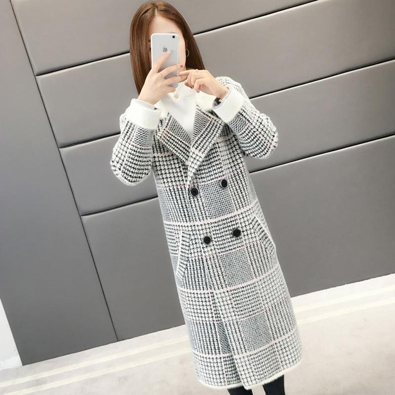 2019 Women s Winter New Sweater Coat Loose Suit Collar Plaid Warm Sweater Long Fashion Jacket