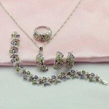 Ashley 4 unids Plata Conjuntos de Joyas Para Las Mujeres multicolor piedras Pendiente/Colgante/Collar/Anillo/pulsera Caja de Joyería Libre
