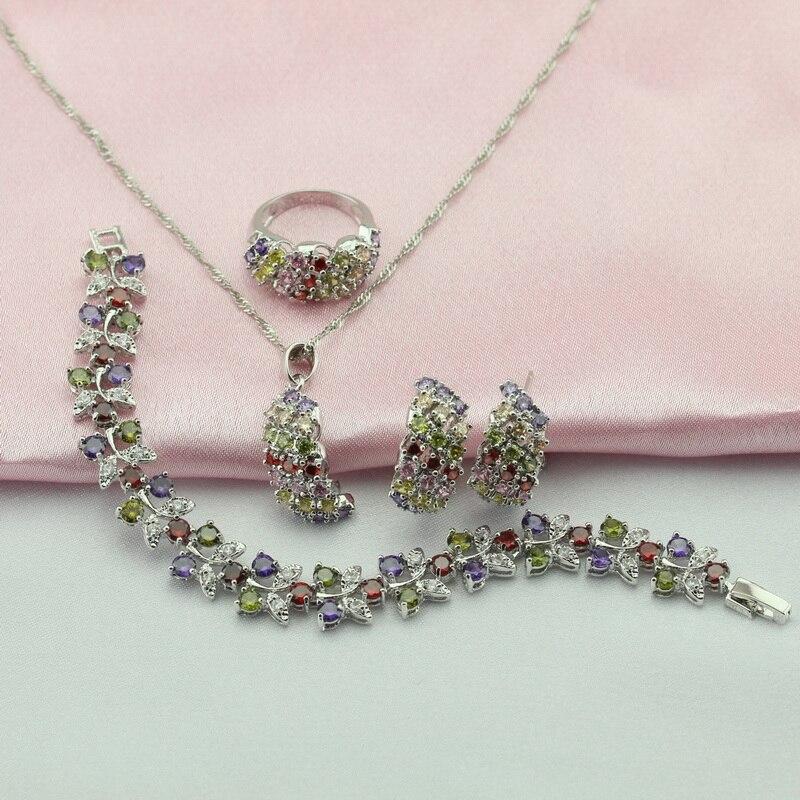 Wpaitkys Frauen Farbe Silber Schmuck Sets Lila Zirkonia Halskette Anhänger Armbänder Ohrringe Ringe Freies Geschenk Box Schmuck & Zubehör