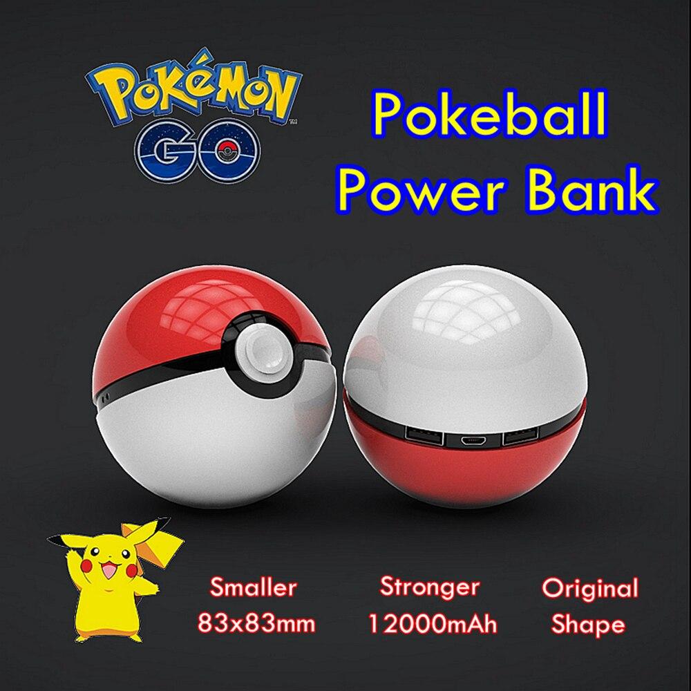 imágenes para Pokemon Pokeball 12000 mAh Batería Externa del Cargador de Viaje Universal Dual USB Banco Portable de la Energía de Luz LED + Pokemon Etiqueta