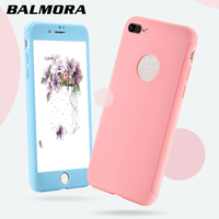 BLMORA Full Coverage Case Back Front Anti Knock Candy Color PC Hard Matte Skin Case For