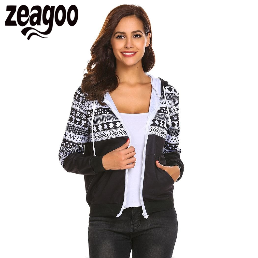 Zeagoo 2018 Hoodies Women s Drawstring Hooded Full Zip Geometric Casual  Sweatshirt Hoodie With Pocket sudaderas mujer 160a6e202