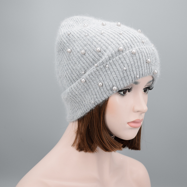 New Design Women Winter pearls Beanies high quality Wool Rabbit hair warm  Soft knit Hat Ladies Girls Gorros Caps 7efb694add9e