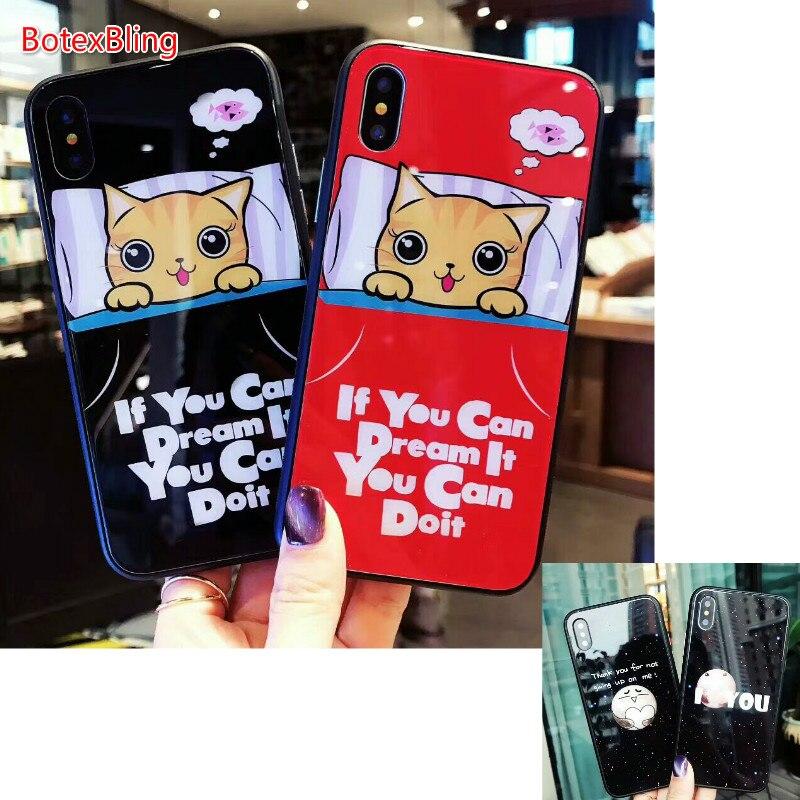 BotexBling coppia Cute Sogno sonno gatto di vetro cassa del telefono per il iphone 7 caso 7 più 6 6 s più 6 più 8 8 plus cover per iphone X