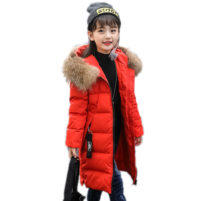 children winter outwear kids winter jackets solid long section teenager girls warm parka white duck down winter jacket girl coat winter girl jacket children parka winter coat duck long thick big fur hooded kids winter jacket girls outerwear for cold 30 c