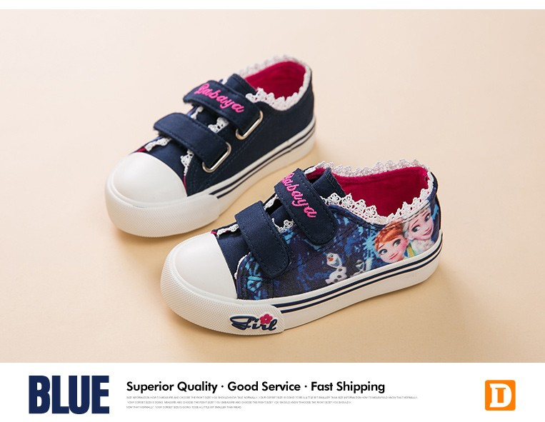Princess Girls Shoes For Kids Fashion Elsa Anna Kids Shoes 2017 Ice Snow Queen Casual Denim Canvas Children Shoe Girl Sneakers 520 (3)