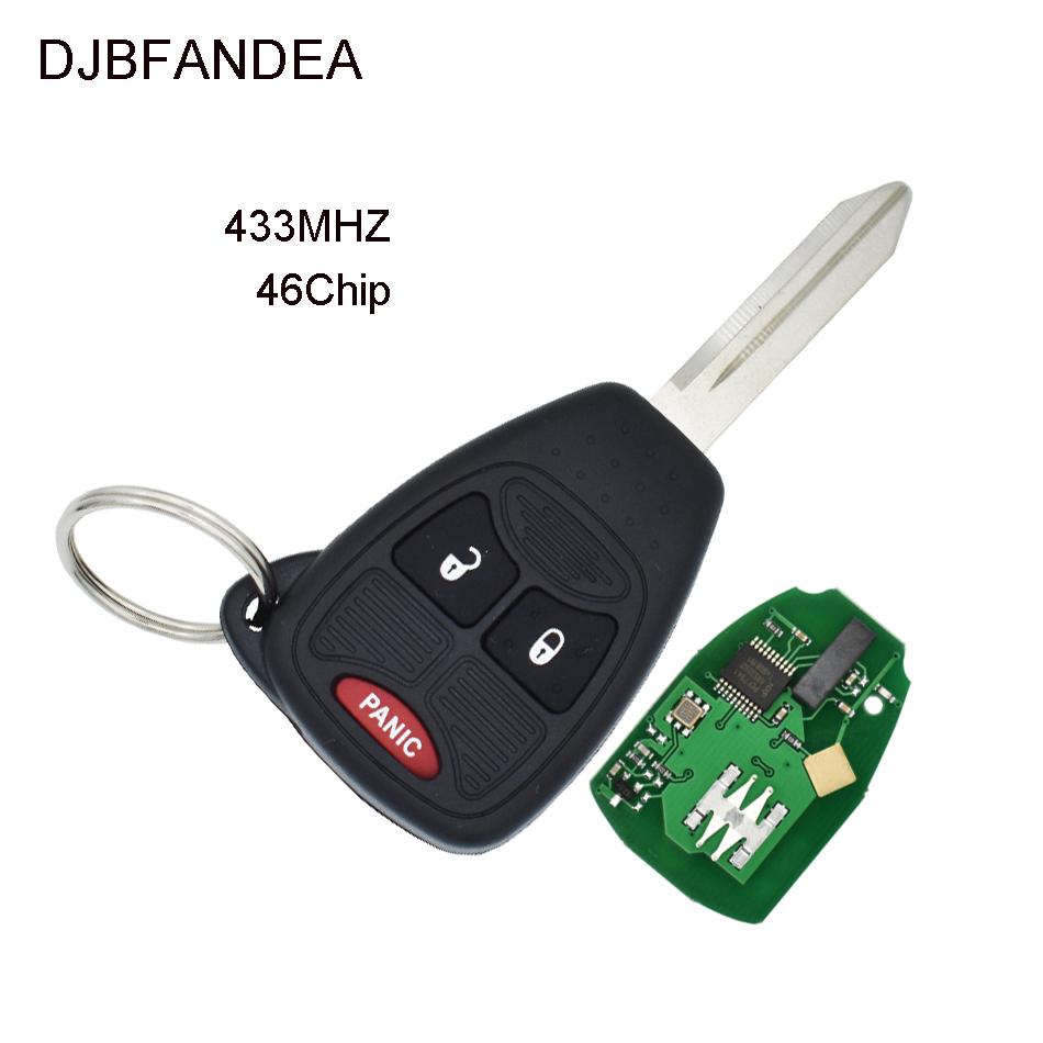 DJBFANDEA 3 Buttons Remote Car Key for Chrysler Dodge Magnum Jeep Caliber Patriot Pacifica Liberty With 433MHz ID46 Chip