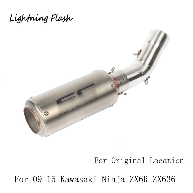 Pour 2009 2010 2011 2012 2013 2014 2015 Kawasaki Ninja ZX6R ZX636 Moto D'échappement Mi Tuyau D'échappement En Acier Inoxydable Évasion glissement Sur
