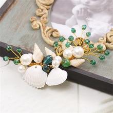 Ocean Theme Tiara Headdress Pearl Jewelry Wedding Headband Hair Jewelry Bridal Hair Accessories Ornaments Cheveux WIGO0737