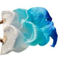 2018 새로운 도착 높은 품질 중국어 실크 팬 1 짝 수제 실크 밸리 댄스 팬 화이트 + 청록색 + 로얄 블루 180*90 cm