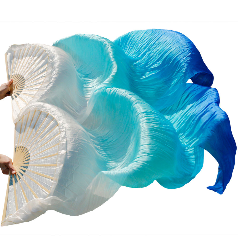 2018 New Arrivals High Quality Chinese Silk Fans 1 Pair Handmade Silk Belly Dance Fans White+Turquoise+Royal blue 180*90 cm