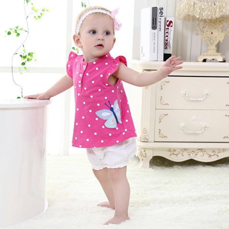 2017 New Baby Girl Clothing Sets Short Sleeve Shirt Outwear Sleeveless Bodysuits Short Pants Diaper 3