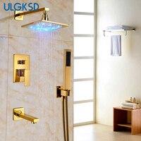 Ulgksd 10 ''Насадки для душа Ванная комната Душ Смесители LED Золотой смеситель для душа душ рука Насадки для душа смесителя