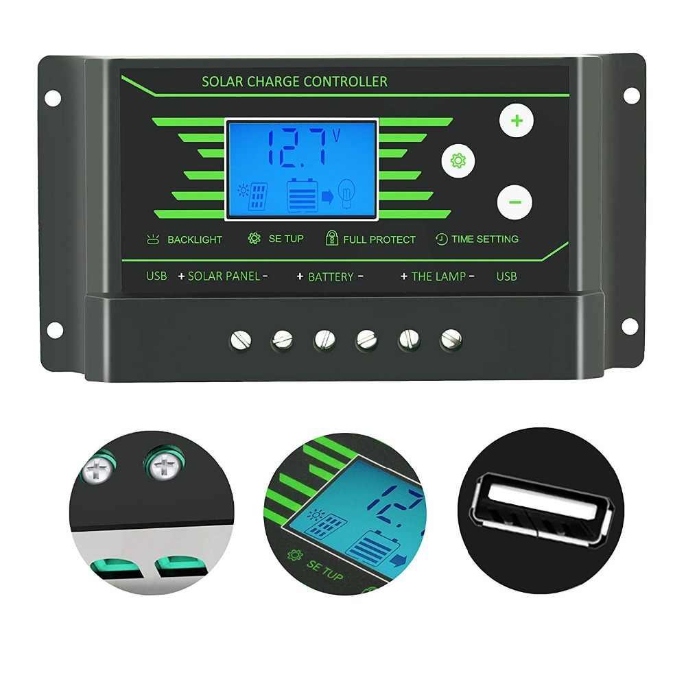10A 20A 30A солнечное зарядное устройство pwm контроллер 12 V 24 V Авто Подсветка ЖК-дисплей солнечный регулятор напряжения устанавливаемых двойной 5 V USB Батарея Зарядное устройство