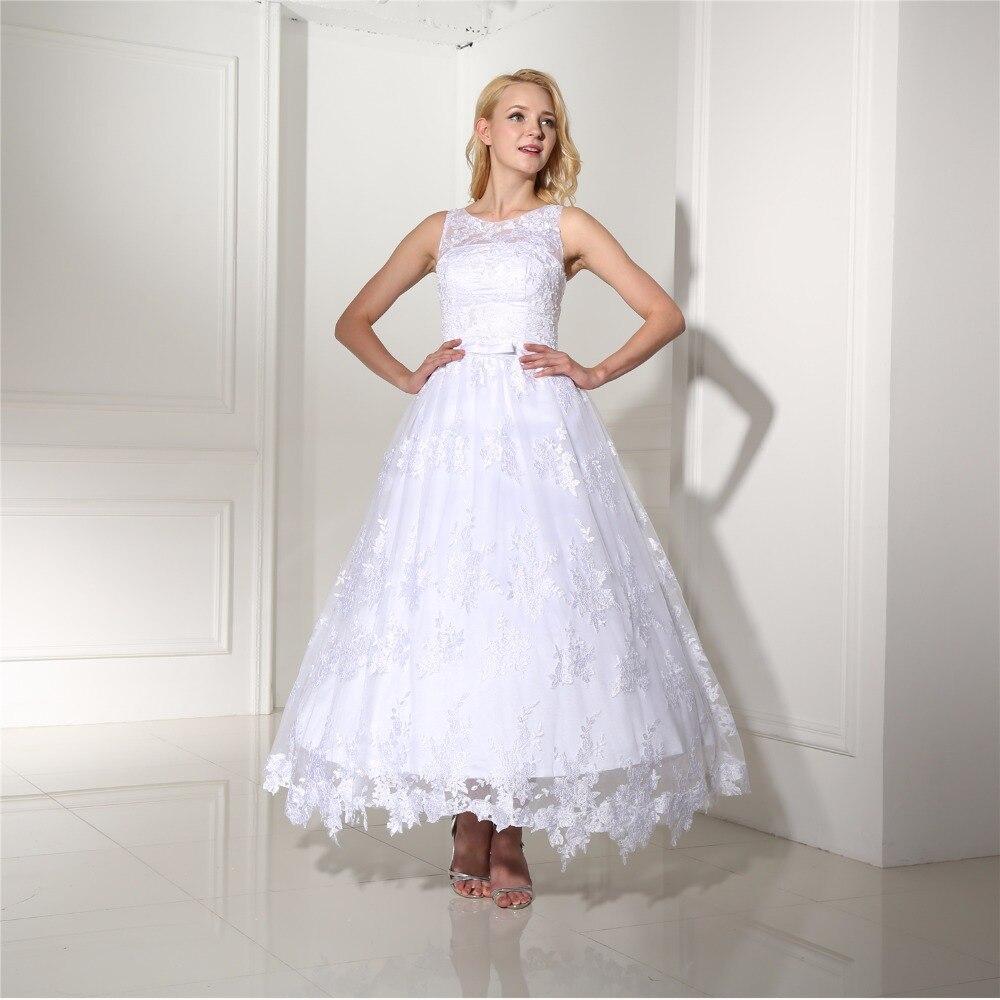 Lace Vestido De Noiva 2018 Wedding Dresses Ball Gown Ankle Length