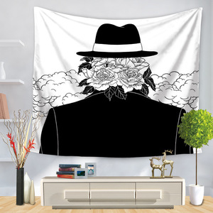 Image 2 - Pop Art Black White Creative Tapestry Polyester Rectangular Living Room Bedroom Home Decor Background Decoration Wall Hanging