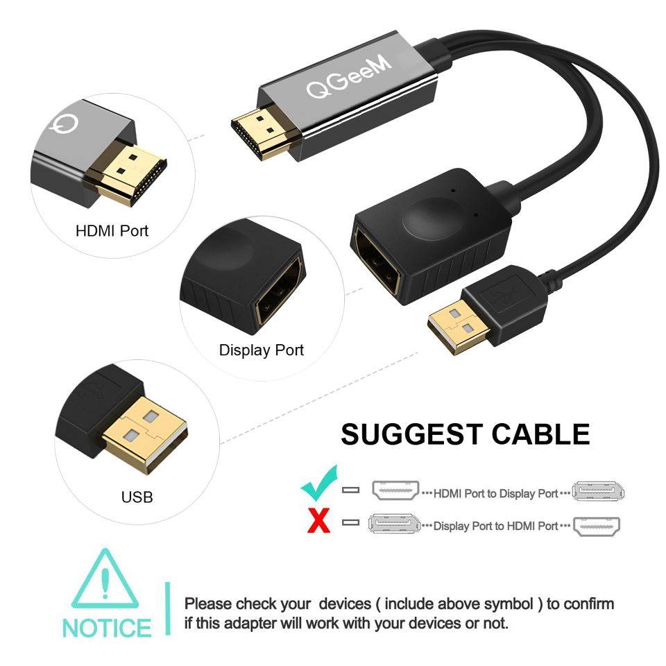Image 3 - QGEEM HDMI TO DisplayPort Adapter 4K HDMI TO DP Cable HDTV Adapter Converter Male to Female Support 1080P for HDTV HDMI TO DP-in HDMI Cables from Consumer Electronics
