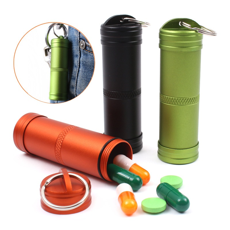 Camping Survival Waterproof Pills Box Container Aluminum Medicine Bottle Keychain Outdoor Emergency Gear EDC Travel Kits Tool