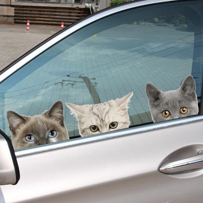 Divertido adhesivo 3D de gato, perro, media cara, asomando, para coche, decoración de Arte de fondo de pared, pegatinas de pared de animales bonitos para decoración del hogar